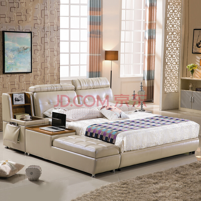欧尔卡斯 榻榻米床真皮床软体床时尚欧式床双人大床婚图片