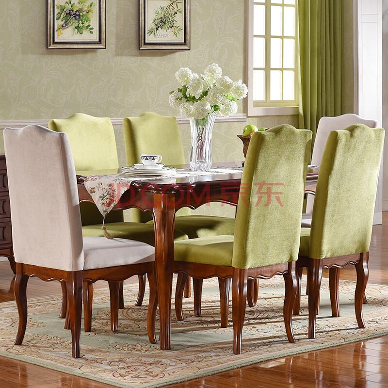 美乐乐家具 实木餐桌椅组合 餐桌餐椅 美式田园简约小图片