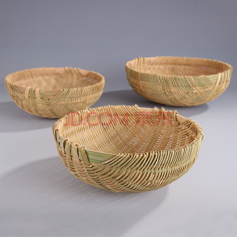 纯手工编织竹篮竹筐淘米箩青丝编织竹编水果篮竹篓淘米篮 小号直径23