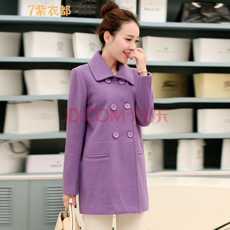 暗紫色大衣搭配图片