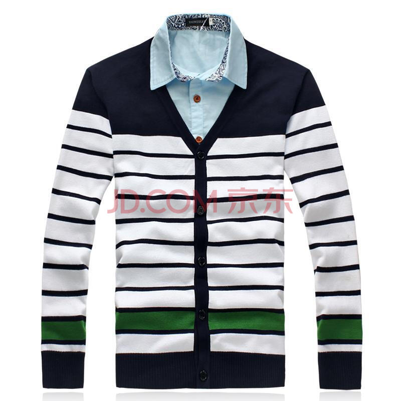 冬季装特大号针织衫 韩版假两件男士毛衣加肥加大码潮男装长袖 藏青领