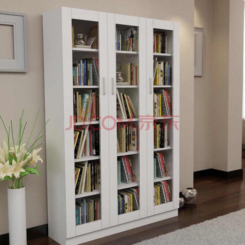 乐 现代简约 书房家具 组合玻璃门书柜书橱储物格可调节层板 可定制