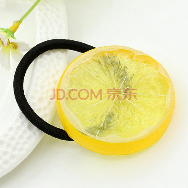 韩国饰品柠檬片可爱软妹发饰田园清新水果发夹边夹发圈头饰皮筋 黄