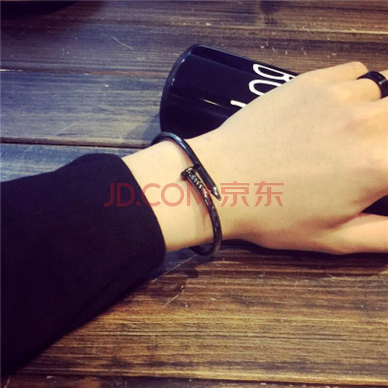 手镯开口手环钛钢手链欧美个性显气质手饰装饰品中学生情侣复古风实用图片