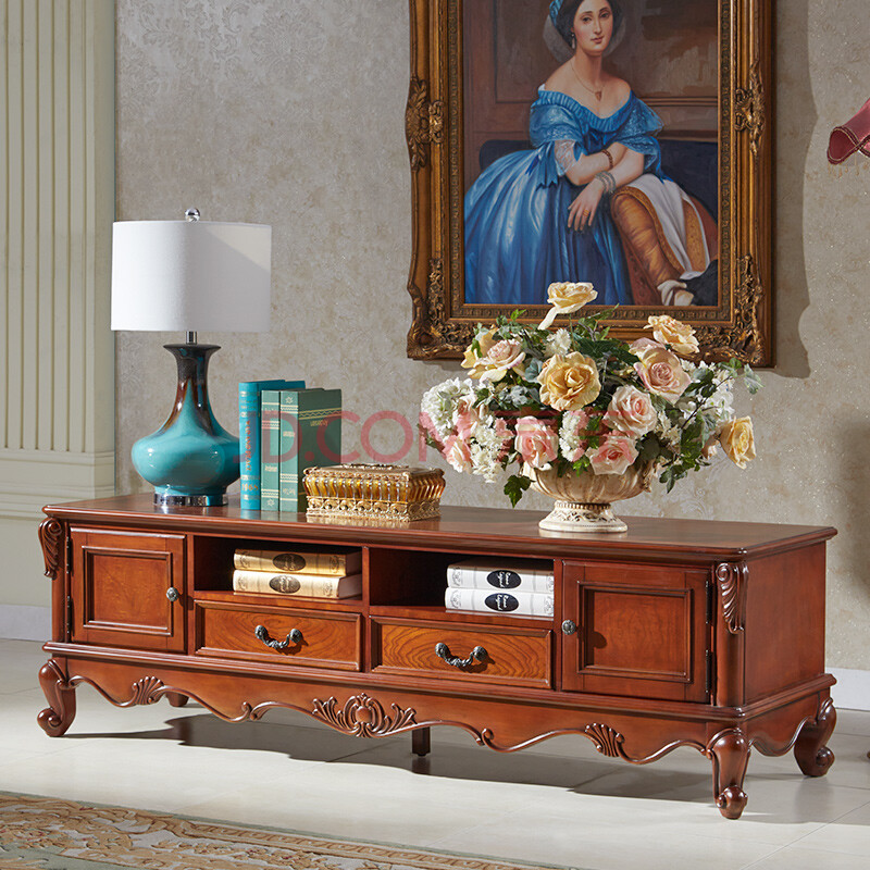 美乐乐家具 美式古典客厅电视柜 实木雕花小户型电视柜储物柜地柜图片