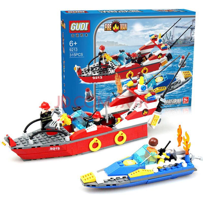 古迪拼插积木消防总局系列乐高式儿童diy组装车飞机消防员玩具早教