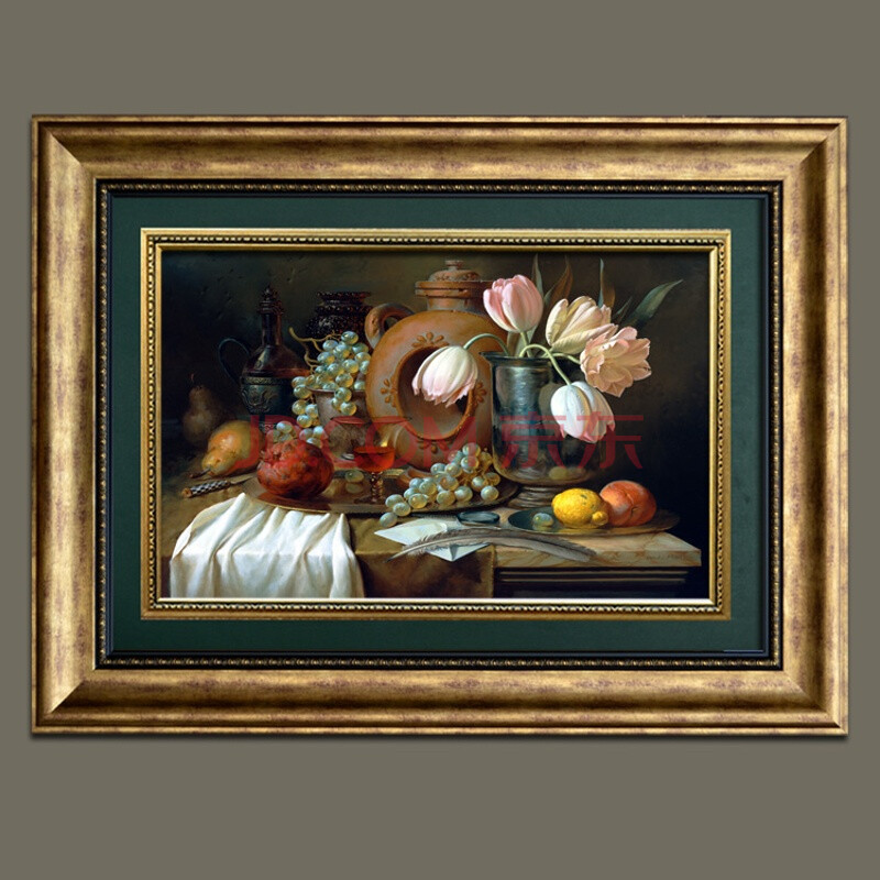 欧式餐厅装饰画玄关客厅挂画饭厅壁画美式横幅水果静物卧室复古 连框图片