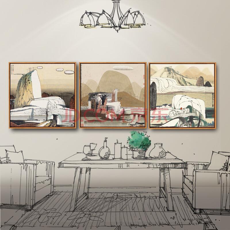 沙发背景墙三联画现代简约客厅装饰画 卧室欧式壁画挂画墙画 风景 50*图片