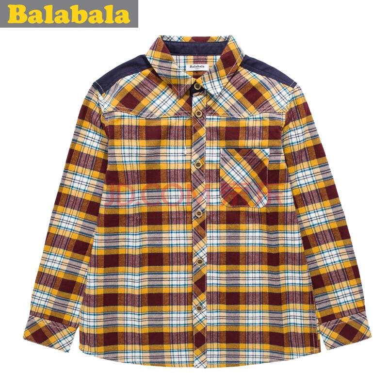 巴拉巴拉童装2014秋装新款儿童男童衬衫男孩休闲磨毛格子长袖衬衫 红