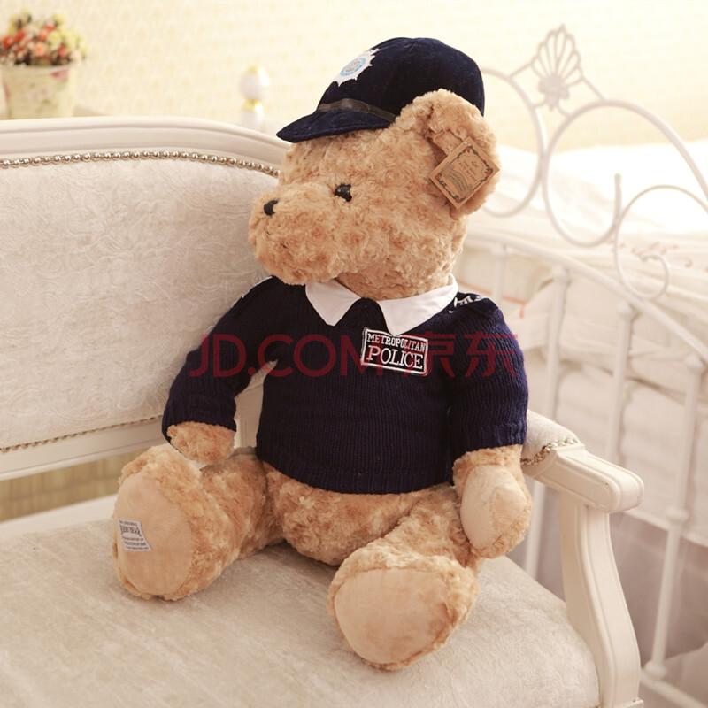 聚可爱 英国警察熊 情侣泰迪熊毛绒玩具公仔抱枕 毛衣警察熊布娃娃