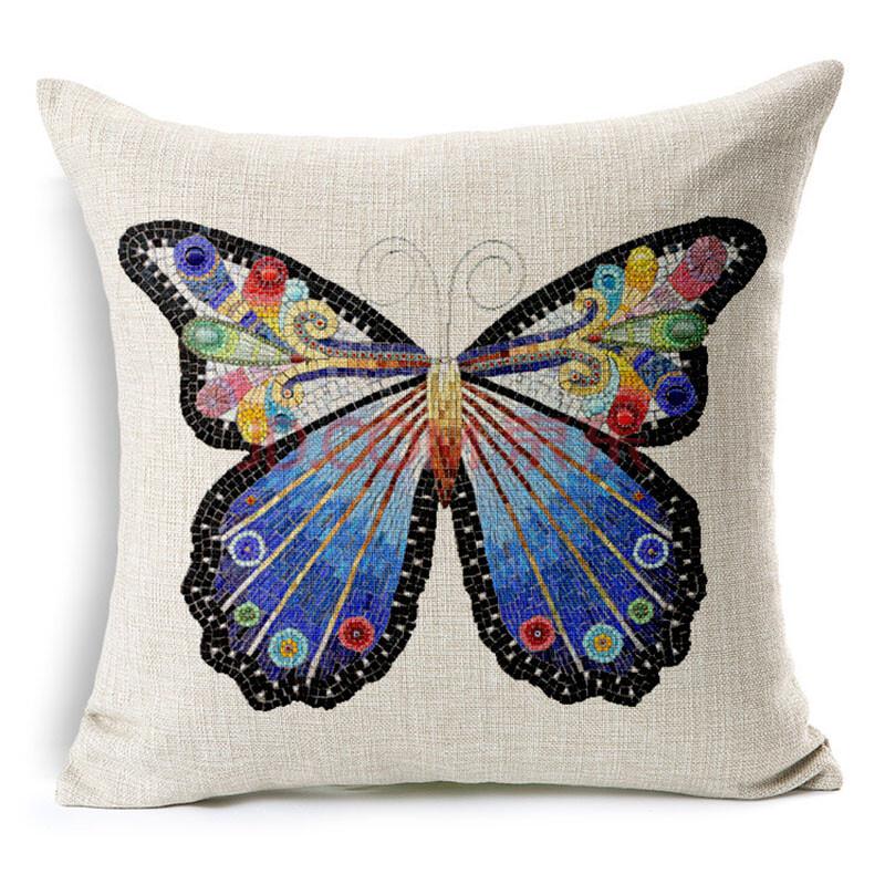 诗之梦(shi zhi meng)欧美古典手绘蝴蝶蜻蜓加厚棉麻抱枕腰枕靠垫套