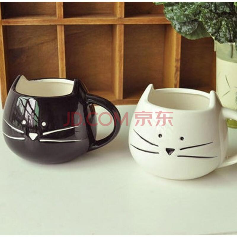 zakka可爱卡通黑白猫咪动物杯 创意水杯马克杯子陶瓷情侣杯对杯 猫咪