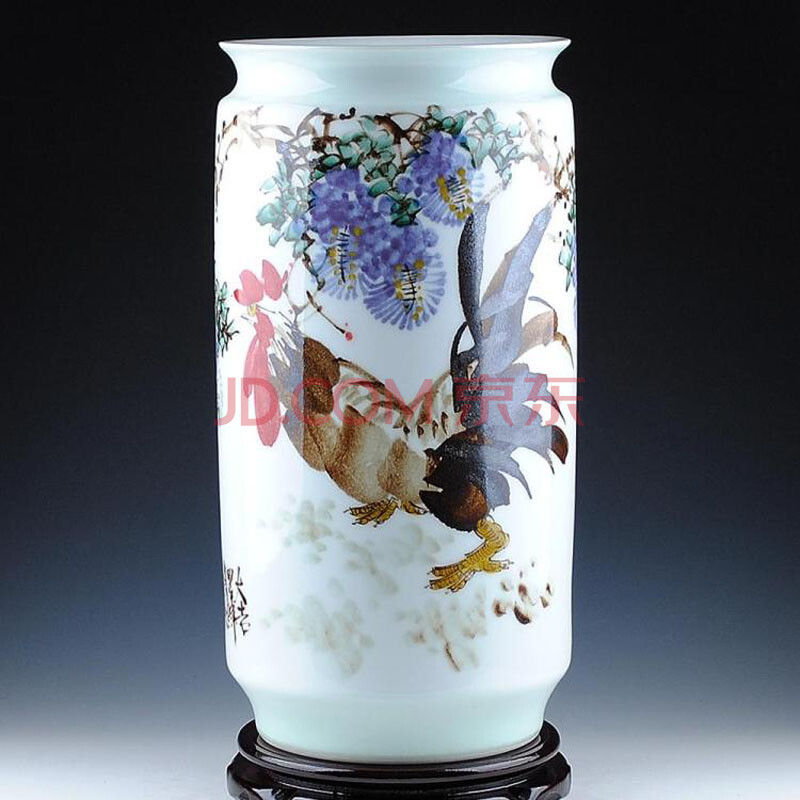 陶之念 景德镇陶瓷器 大师彭小青手绘箭筒花瓶 证书收藏 手绘箭筒1