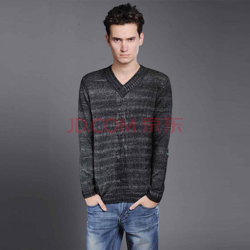利郎l2 新品男士时尚休闲v领条纹毛衫针织衫 黑色232113811 黑色 190