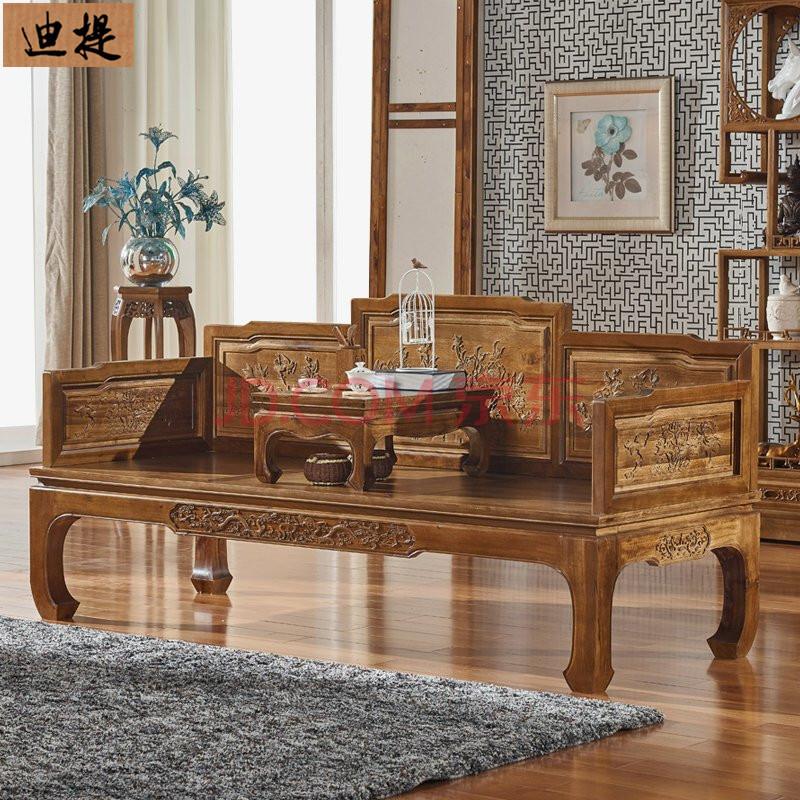 实木雕花罗汉床 香樟木楠木中式明清仿古炕床卧榻罗汉椅子床沙发 罗汉