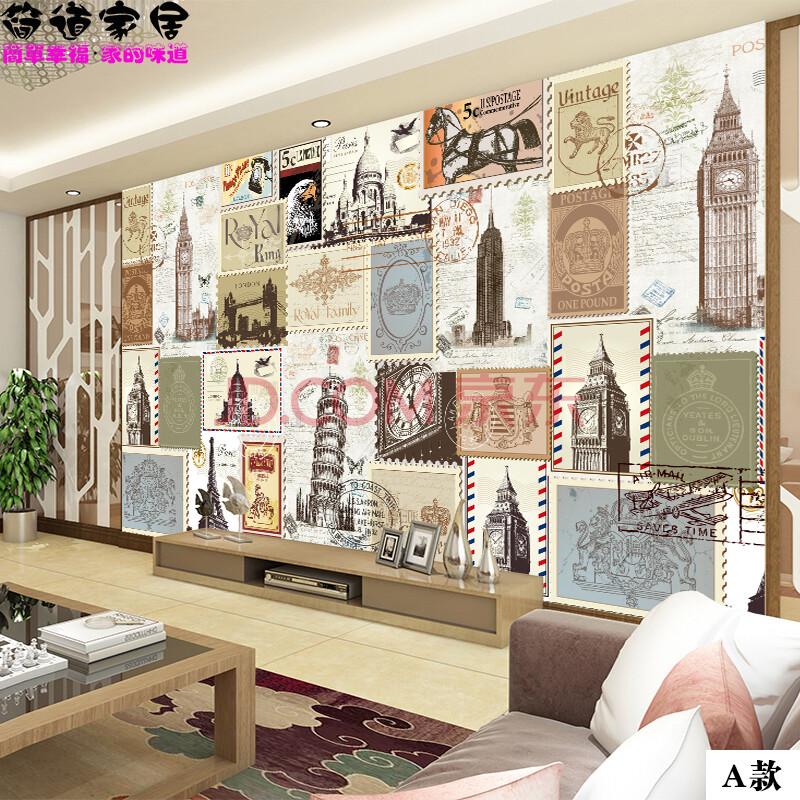 简道欧式复古手绘欧洲著名建筑墙纸简欧客厅埃菲尔铁塔电视背景墙壁纸
