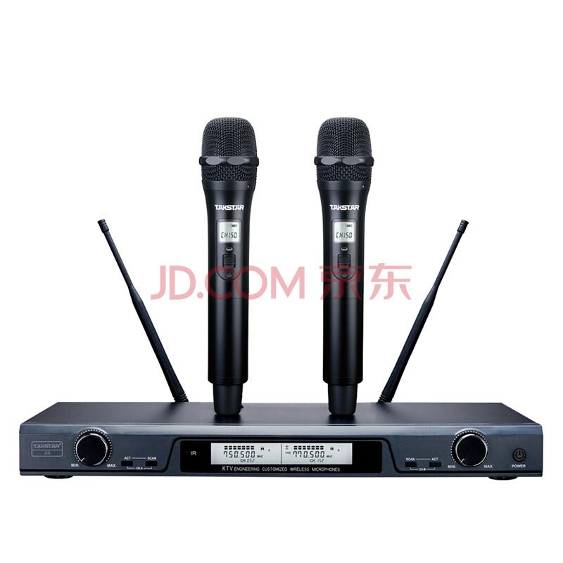 得胜(TAKSTAR)X6无线话筒麦克风 一拖二专业U段家庭KTV 工程会议主持专用话筒 高品质高保真 典雅黑