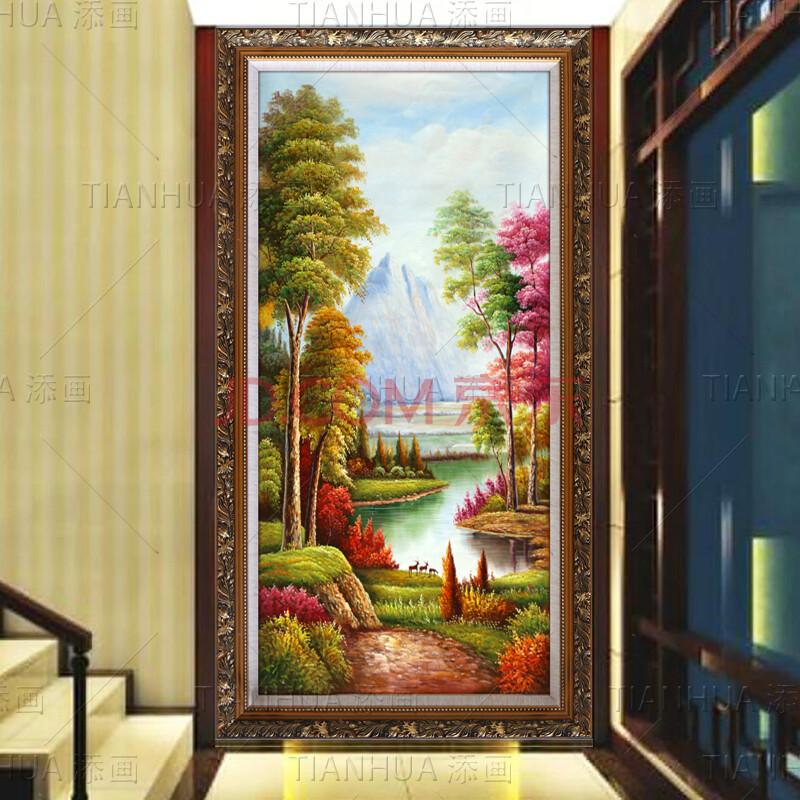 添画 纯手绘风景油画 玄关装饰画 门厅挂画 走廊过道油画欧式挂画
