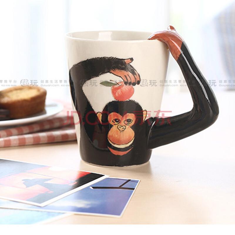 3d纯手绘立体陶瓷动物杯马克杯 猴子