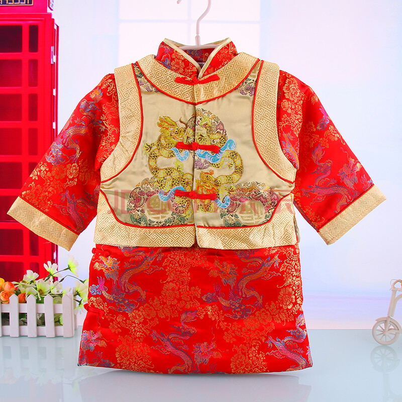 男童龙袍马褂套装儿童唐装宝宝周岁礼服婴儿地主装冬