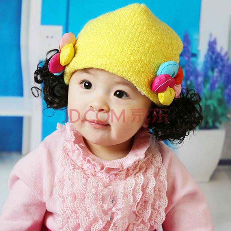 苏可儿 冬季儿童新款保暖帽子 女童抓绒帽 女宝宝童帽假发帽 婴儿帽