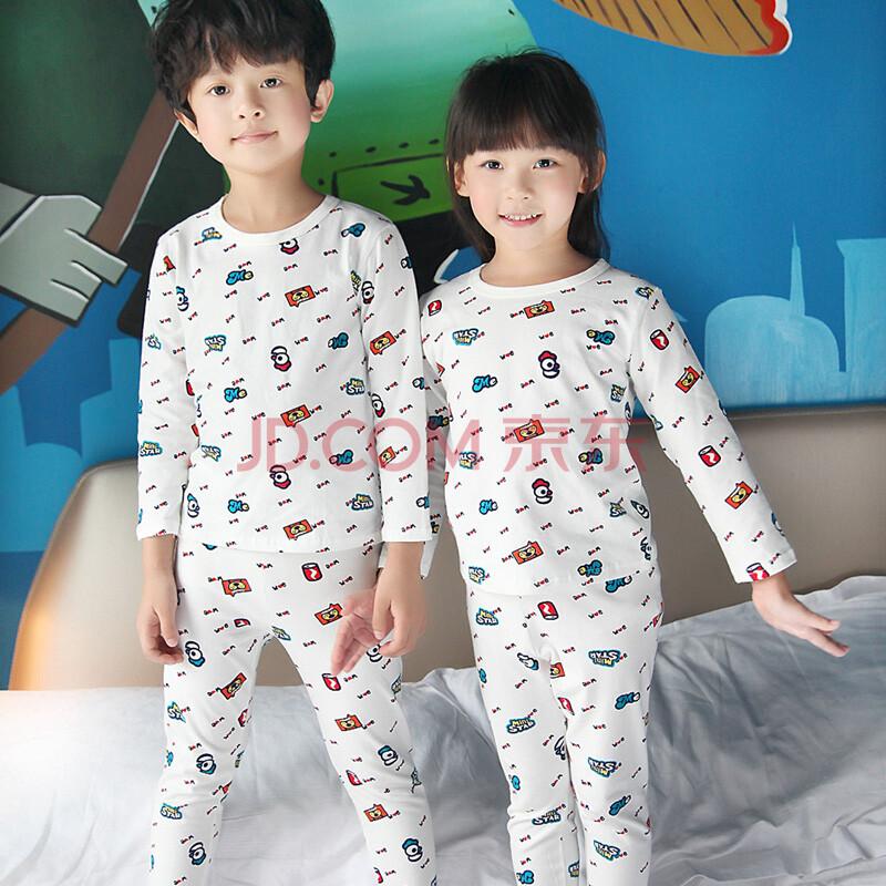 纯棉儿童睡衣男孩女童长袖秋季大童男童睡衣小孩童装