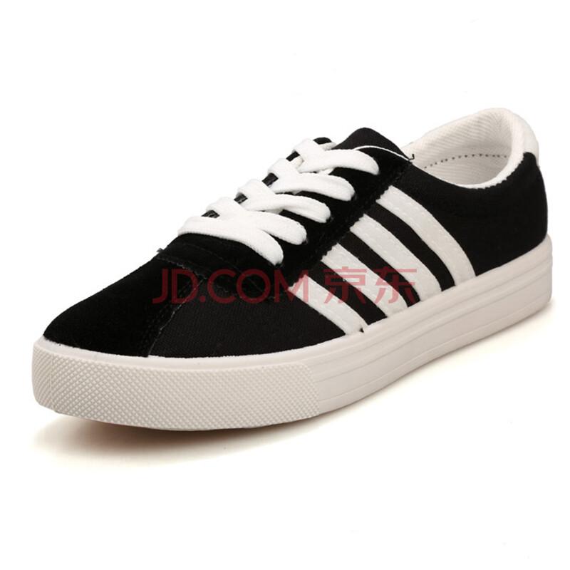 折八百春季新款女帆布鞋子女士韩版时尚板鞋校园风学生女鞋子 黑色 40