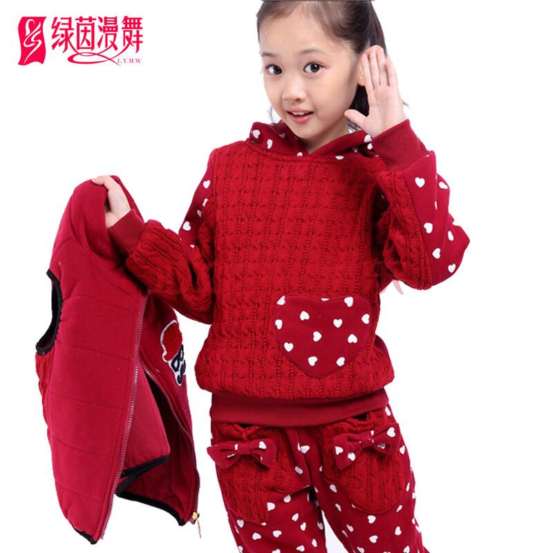 童装女童秋装套装外套2014儿童冬装卫衣三件套大童服