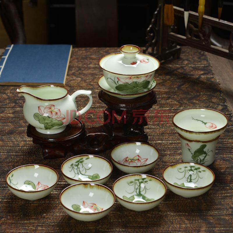 恒越 功夫茶具 手绘青瓷睡莲茶具套装 陶瓷盖碗 茶杯 茶海 茶漏