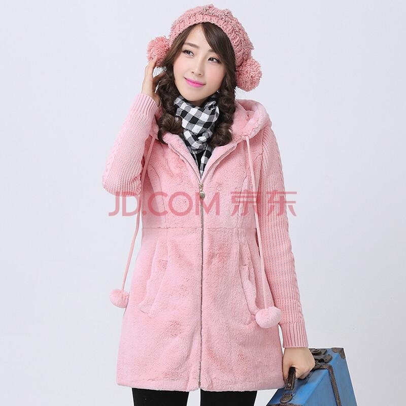 少女冬装2014新款中学生棉衣外套 学院风加厚毛绒外套女 韩版开衫卫衣图片