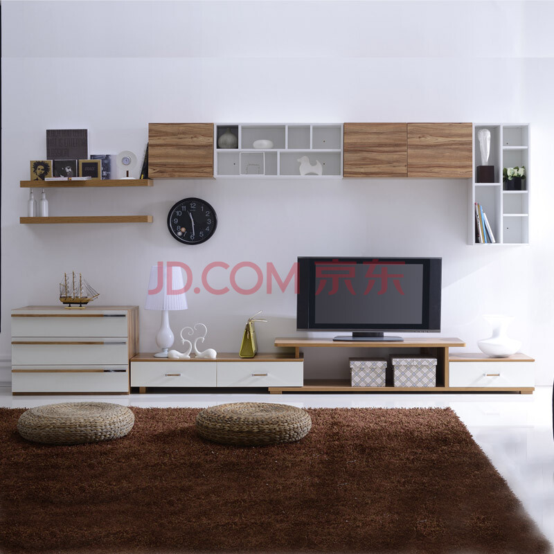 原林牧歌现代简约可伸缩电视柜 组合客厅吊柜隔板影视