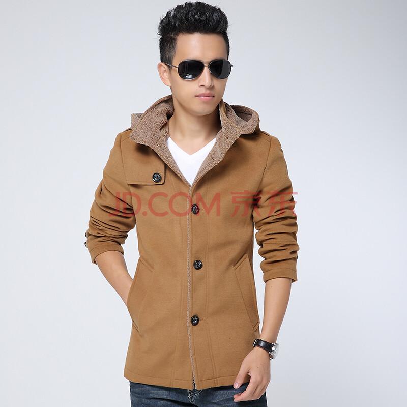 丹杰仕 2014新款男装外套加厚加棉中长款羊毛呢大衣男风衣 卡其色