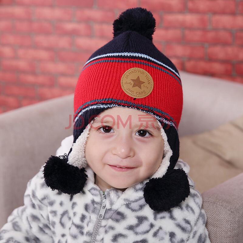 家好月圆 男宝宝帽子秋冬 婴儿帽 冬季 绒里 儿童保暖护耳帽 欧美套头