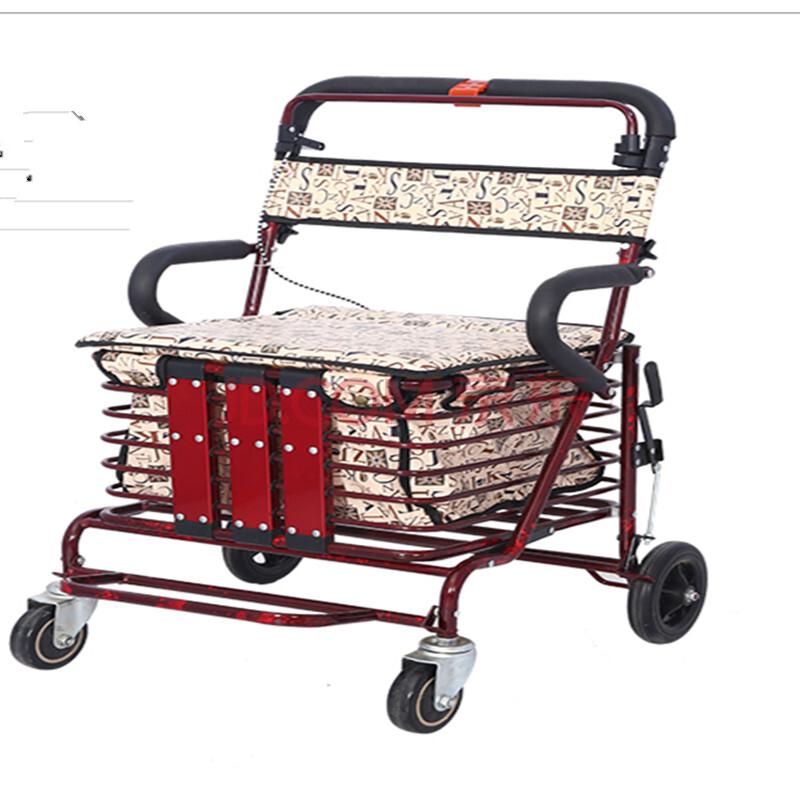 健喜老年购物车 助行 休闲 代步辅助车 可折叠巨无霸  储物车买菜小拉车 老年推车可推可座