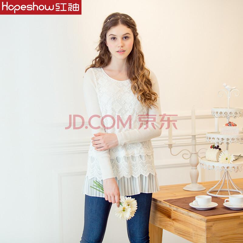 红袖专柜正品 2014秋装新款 镂空蕾丝刺绣长款修身上衣h0130533 141奶