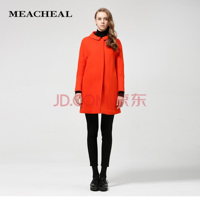 桔红羊毛呢子大衣外套 桔红色