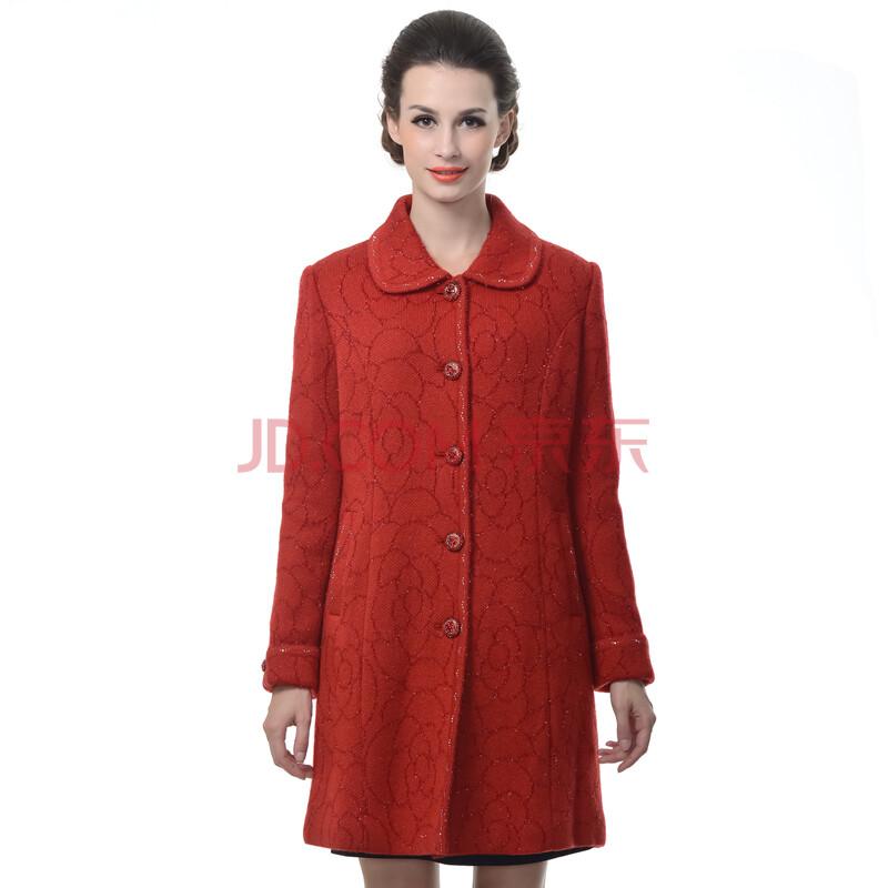 赛斯特女装 单排扣修身针织大衣 t201473 红花 cxl(170/100)