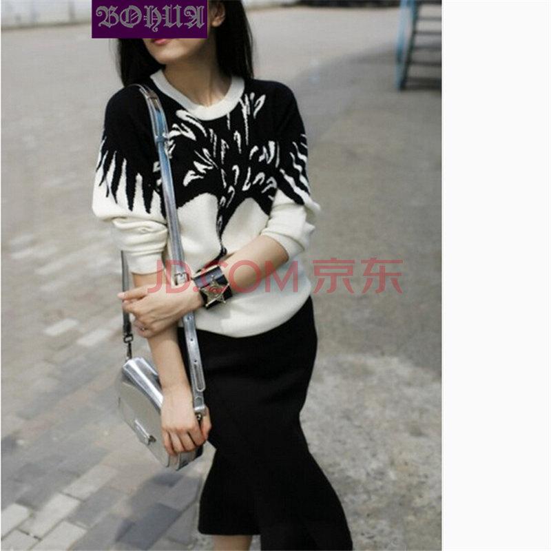 2014新款黑白撞色毛织丹顶鹤长袖上衣 鱼尾一步裙g309