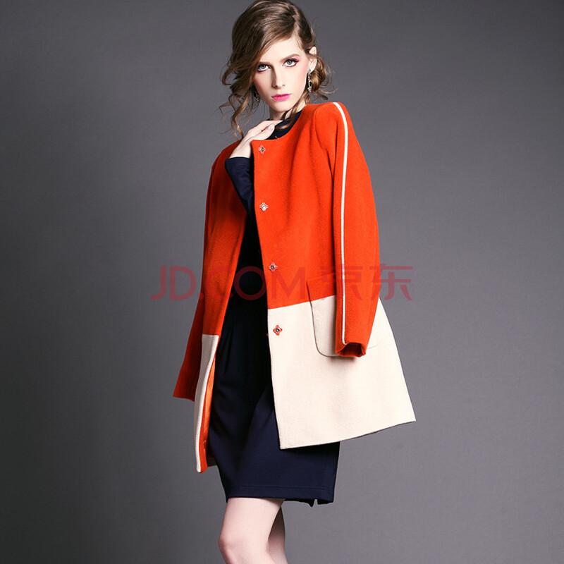 秋冬新款女装 欧美大牌撞色拼接毛呢外套品质羊毛