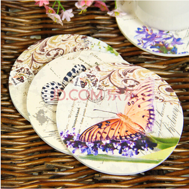 普润 杯垫 隔热垫 餐垫 蝴蝶花纹 欧式田园