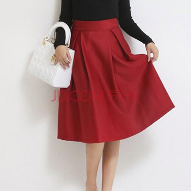 酒红色伞裙怎么搭配