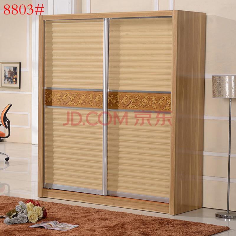 6米二门木质衣柜 移门衣柜大衣柜立柜家具衣柜 胡桃木色