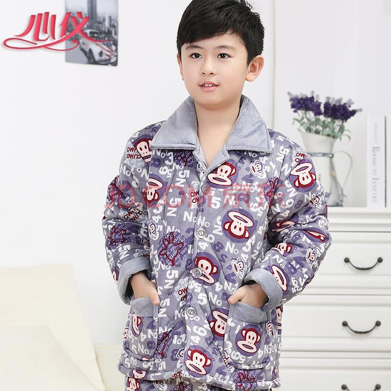 秋冬季儿童睡衣女童夹棉长袖长裤男女孩卡通