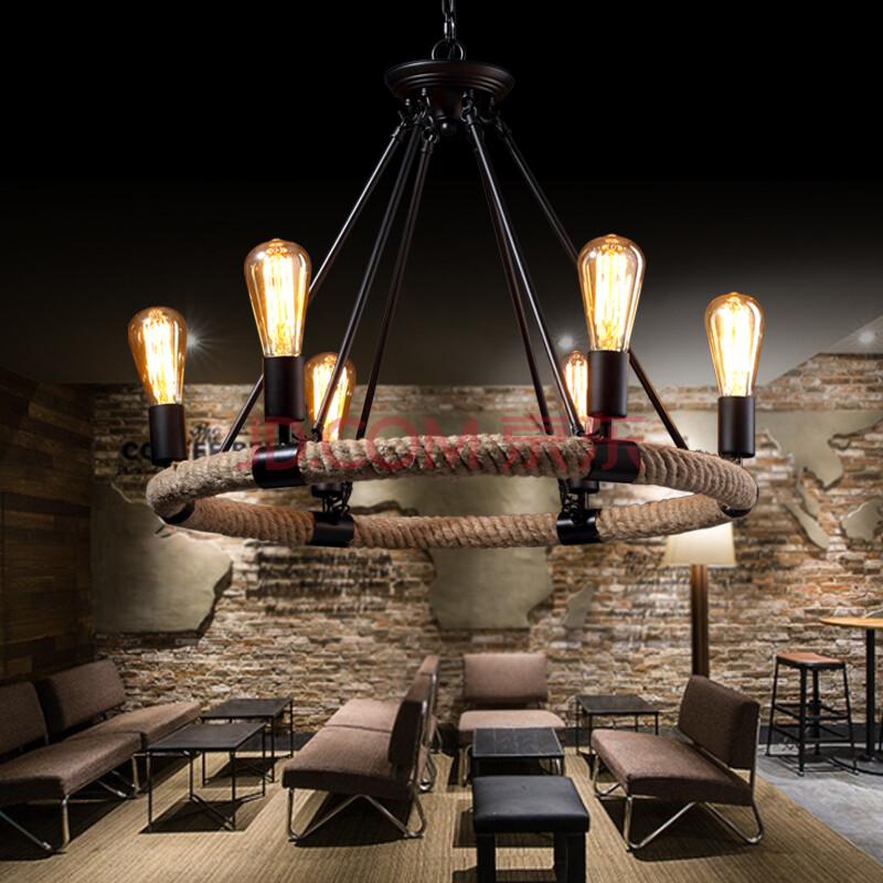 欧美式乡村复古咖啡厅餐厅酒吧吧台吊灯客厅铁艺麻绳图片