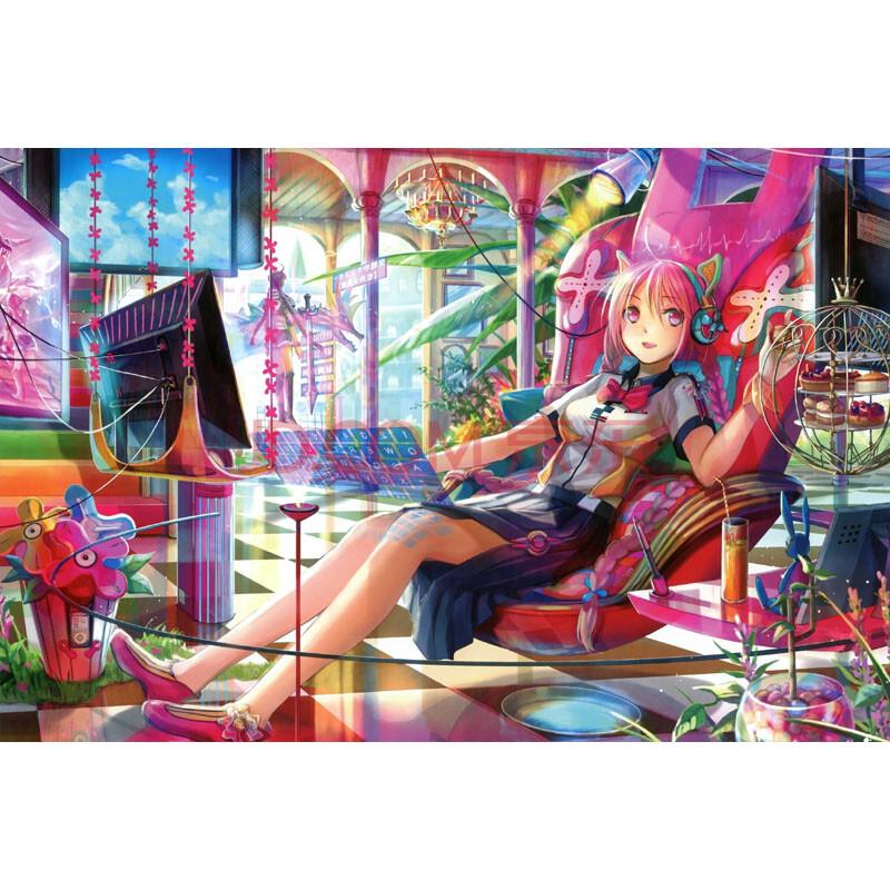 卡通动漫画美少女手绘cg女孩插画 多款可 美少女12 1500片木质分区