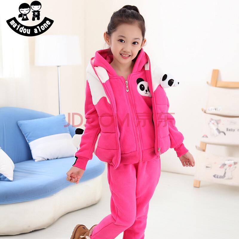 冬装套装 2014新款加厚女童秋装运动儿童卫衣三件套