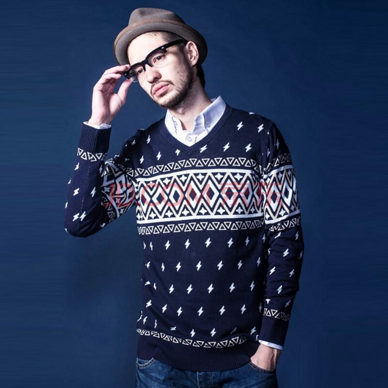 有货 潮牌evd 民族风花纹套头针织毛衣 男 蓝色