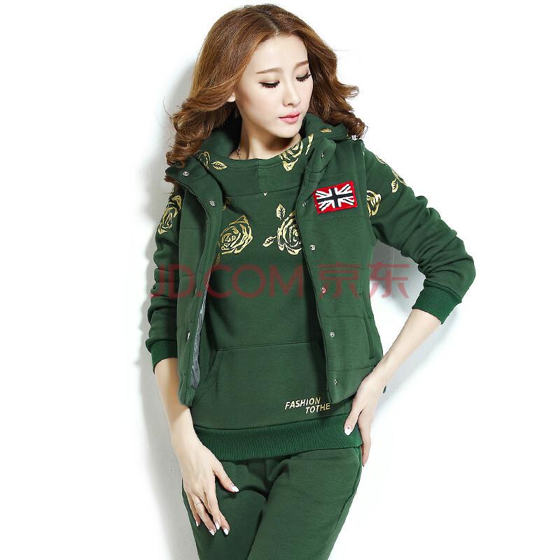 2014韩版冬季女士三件套运动套装加绒加厚女休闲套装