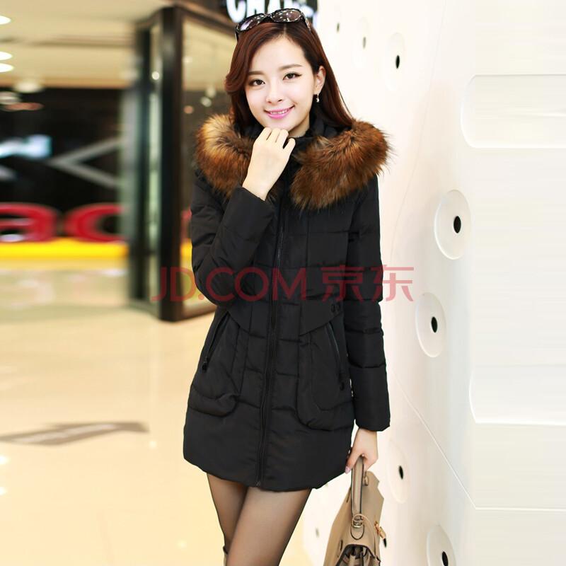 大衣韩版通勤女装时尚毛领长款棉衣修身加厚保暖棉服图片