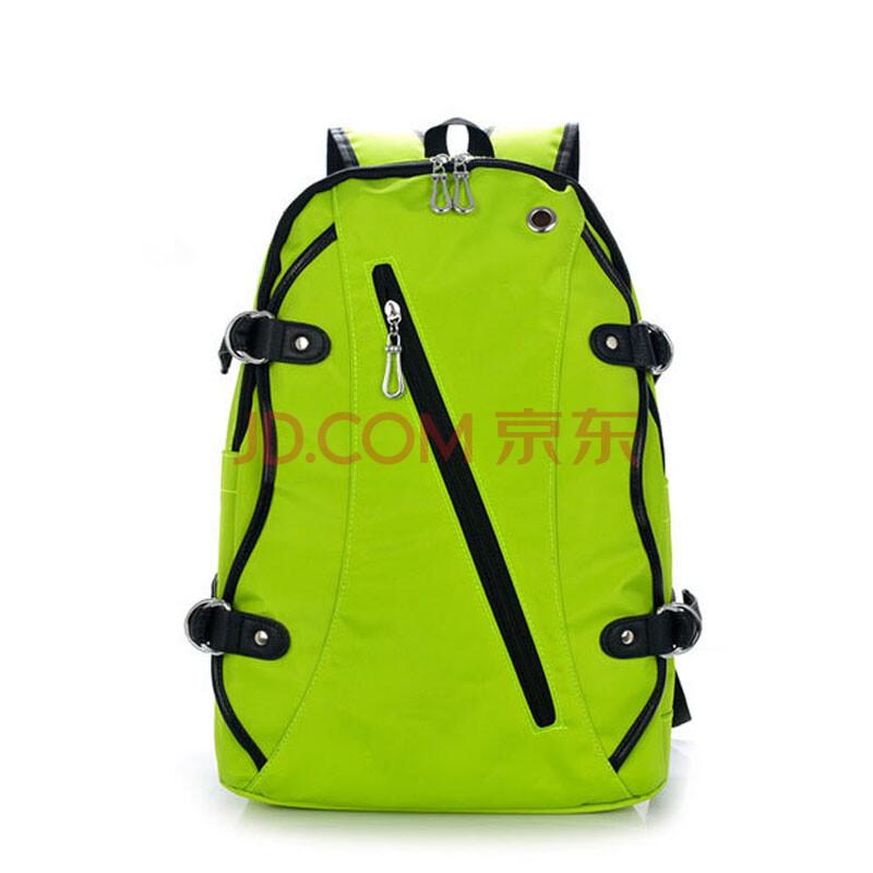 vtour韩版新款帆布双肩包简约复古学生书包双肩背包帆布包包 绿色图片
